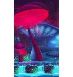 Magic Mushroom Hollow - mystical vertical vector image