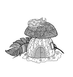 mushroom house the bug vector image