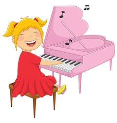 Of A Little Girl Playing Piano vector