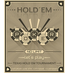 Poker background in retro style with poker chips vector image
