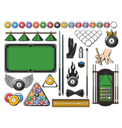 Pool snooker and billiards game equipment icons vector