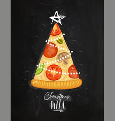 poster christmas tree pizza chalk vector image