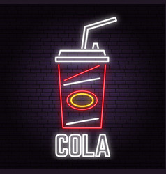 retro neon cola sign on brick wall background vector image