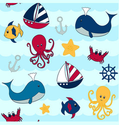seamless design with a nautical theme of various vector image