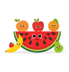 set fruits and watermelon vector image