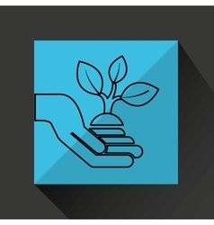 Silhouette hands environmentally friendly plant vector