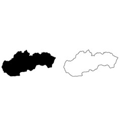 simplified map slovakia outline with slightly vector image