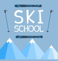 Ski school logo emblems design elements winter vector