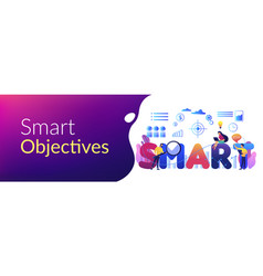 Smart objectives concept banner header vector