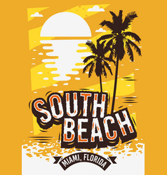 South beach miami florida summer poster design vector