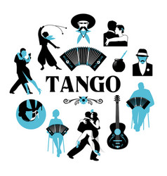 symbolic silhouettes around the world of tango vector image