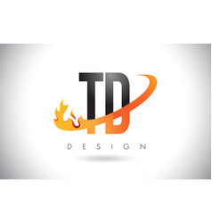 Td t d letter logo with fire flames design and vector