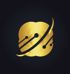 Technology data science gold logo vector