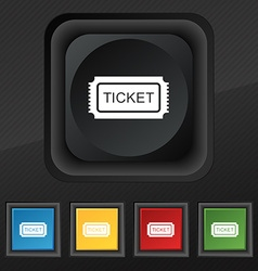 Ticket icon symbol Set of five colorful stylish vector image