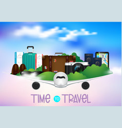 time to travel journey and hiking infographics vector image