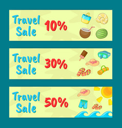 travel sale concept banner set cartoon style vector image