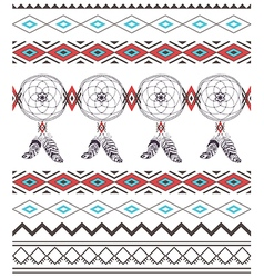 Tribal Boho Seamless Pattern with Dream Catcher vector