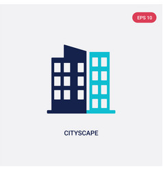 Two color cityscape icon from future technology vector