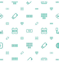 Usb icons pattern seamless white background vector