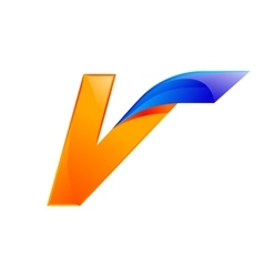 V letter blue and Orange logo design Fast speed vector image