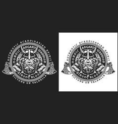 Viking vintage round emblem vector