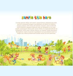 walking children in city park playground vector image
