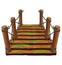 Wooden bridge with green moss vector