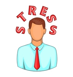 Word stress near man head icon cartoon style vector