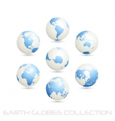 earth globes colection white blue vector image vector image
