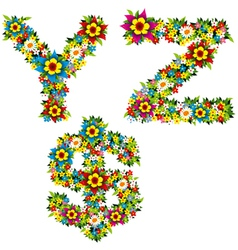flower and bush letters 10 vector image vector image