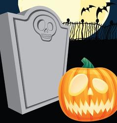 Halloween Tombstone and Jacko Lantern vector image vector image