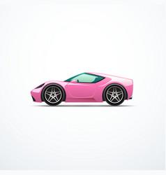 pink cartoon sport car side view vector image vector image