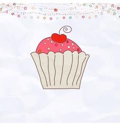 Retro Cupcake Valentines vector image