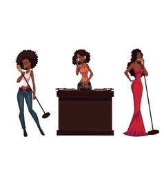 Set of beautiful African women singers and dj vector image