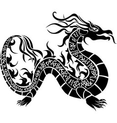 Asian dragon black stencil vector image vector image