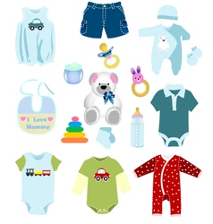 Baby boy elements clothes vector image