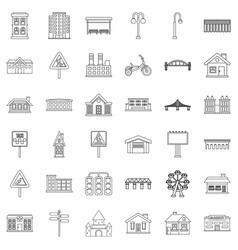 district icons set outline style vector image vector image