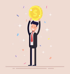 businessman or manager holds a gold coin over his vector image vector image