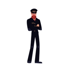 Civil airline pilot with beard and whiskers vector