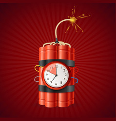 detonate dynamite bomb and timer clock vector image