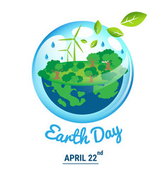 ecology world with april 22 earth day text vector image