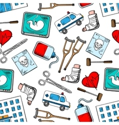 Medical seamless background with medicine icons vector image vector image