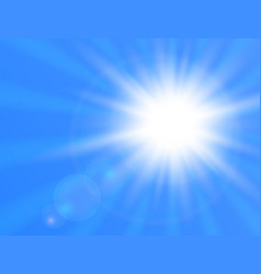 realistic shining sun on blue background sun with vector image