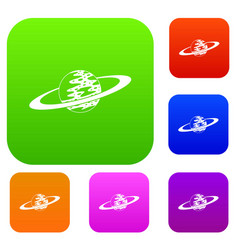 saturn set color collection vector image vector image