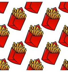 Tasty french fries packs seamless pattern vector image