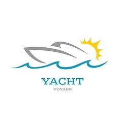 Yacht club logo Sea or ocean trip adventure vector image vector image