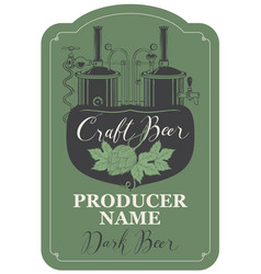 beer label with hops and brewery production line vector image vector image