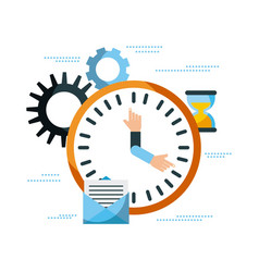 business clock time email work management vector image