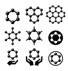 Carbone graphene structure icons set vector image