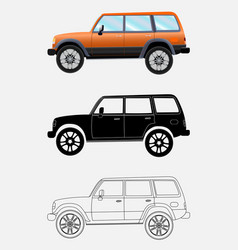 different kind off-road vehicle on a white vector image vector image